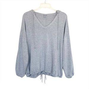 Aerie Drapey Hoodie Sweatshirt Cinched Waist Gray
